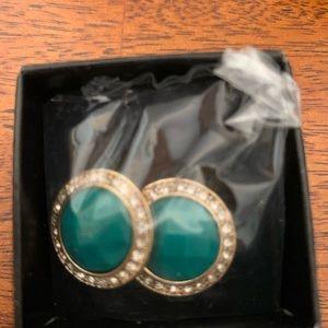 Avon dramatic embellished earrings green